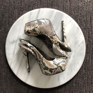 Dollhouse snake skin heels